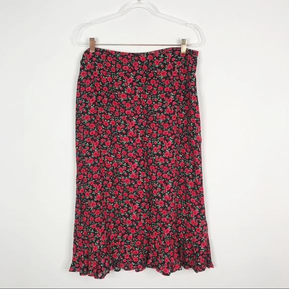 Christopher & Banks Floral Midi Skirt Black Red 14